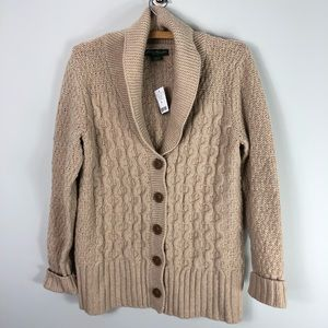 NEW Eddie Bauer Shawl Cardigan Sweater Cable Knit
